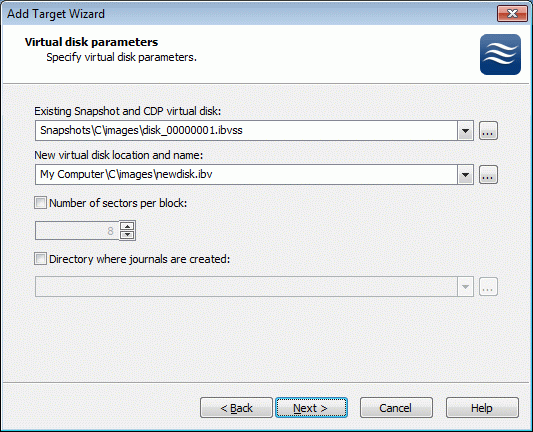 Specify the existing snapshot name and the new virtual disk name.