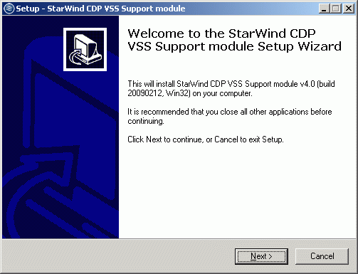 Install VSS Support module on the client-side computer.