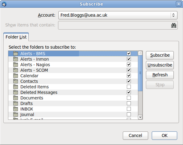 name then click Manage folder subscriptions in the right hand pane.