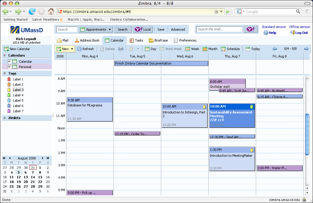 Getting Started 1.b The Zimbra Screen The Zimbra Calendar screen is shown below. The screen is divided into two Panes. The right pane contains the main calendar area.