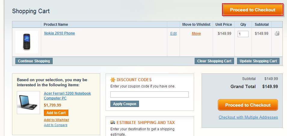 Step 3: Navigate to your cart, if not already redirected. Step 4: Click Proceed to Checkout.