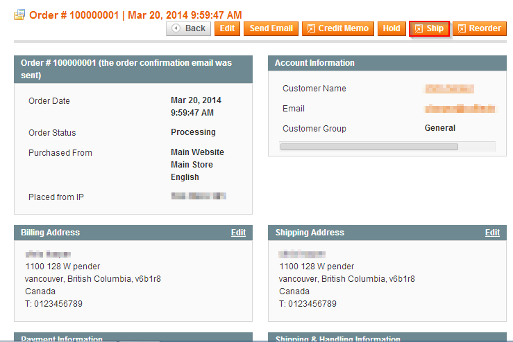 *Note - The store owner can modify the Qty to Ship field to split the order into multiple shipments.