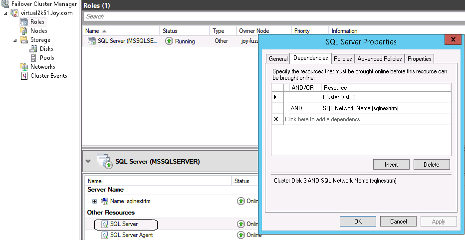 Microsoft SQL Server Backup and BMR d. On the SQL Server active node, start the NetWorker User program. e. Click Recover. f.