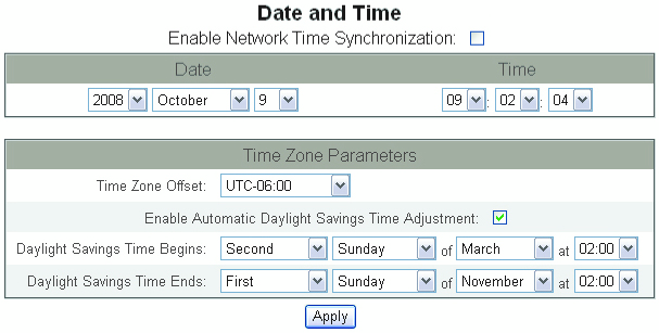 Figure 17: Device Log Export Page - HTTP Date and Time The Date and Time page allows you to set the date and time for the EGX. 1. From the Setup menu, click Date and Opens the Date and Time page.