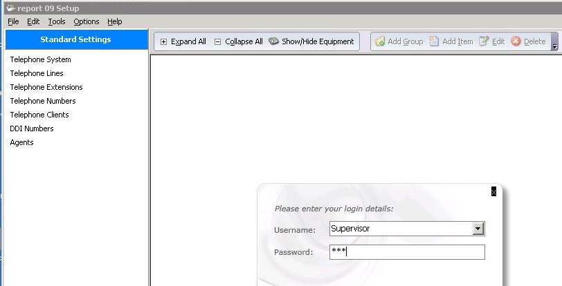 Select Supervisor for the Username and enter the appropriate Password. Click OK.