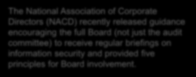 Boards of Directors Attention Boards of Directors are increasingly inquiring about cybersecurity as they see news of breaches, hear about increased regulatory scrutiny, and grow more concerned about