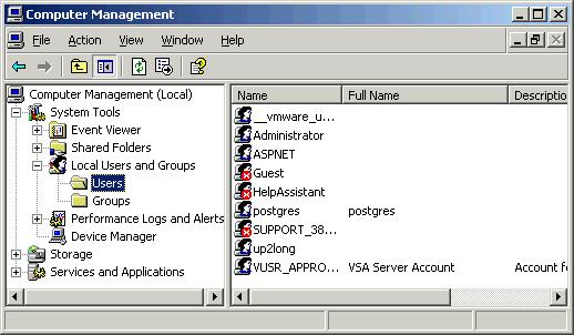 6) Next, goto your version of Window's user management applet and create a new user. The following example was created on Windows XP Professional.