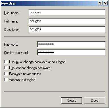 Figure 1.8 New User 7) Then, click on the Create button. Note: This account can not be setup with administrator privileges. Postgres will not run as an admin.