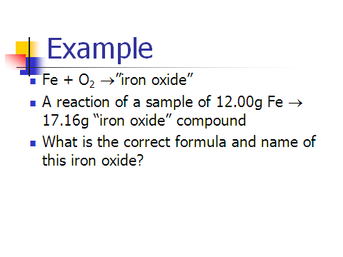 So we want to find the formula and name of some iron oxide compound. What do we do?