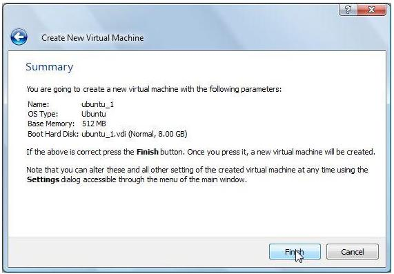 Figure 9: Summary window for new virtual hard disk 11) A final summary page is displayed for the new VM.