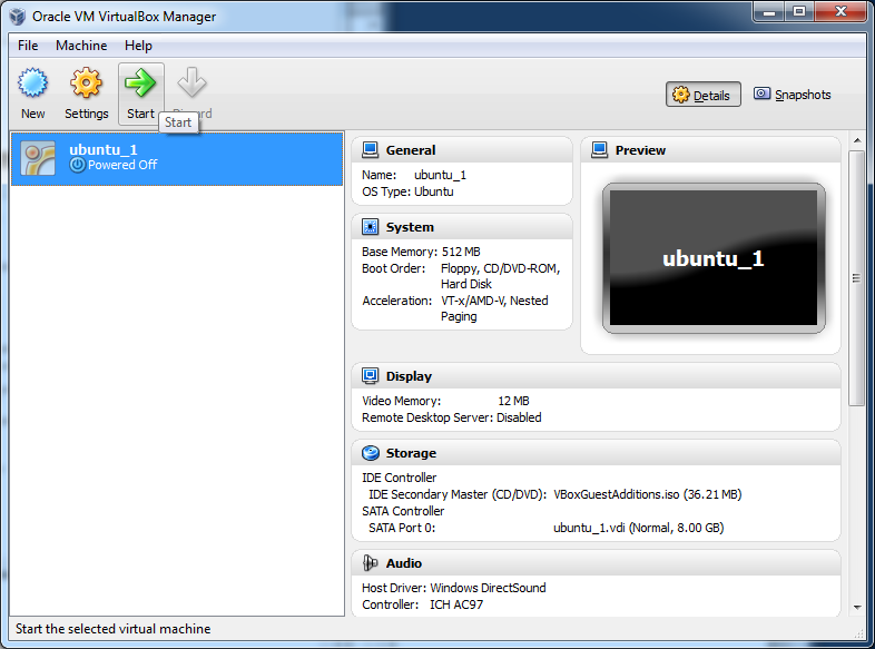 Figure 10: Final VM summary screen 12) From the VirtualBox main window, shown in Figure 11, select the new VM named
