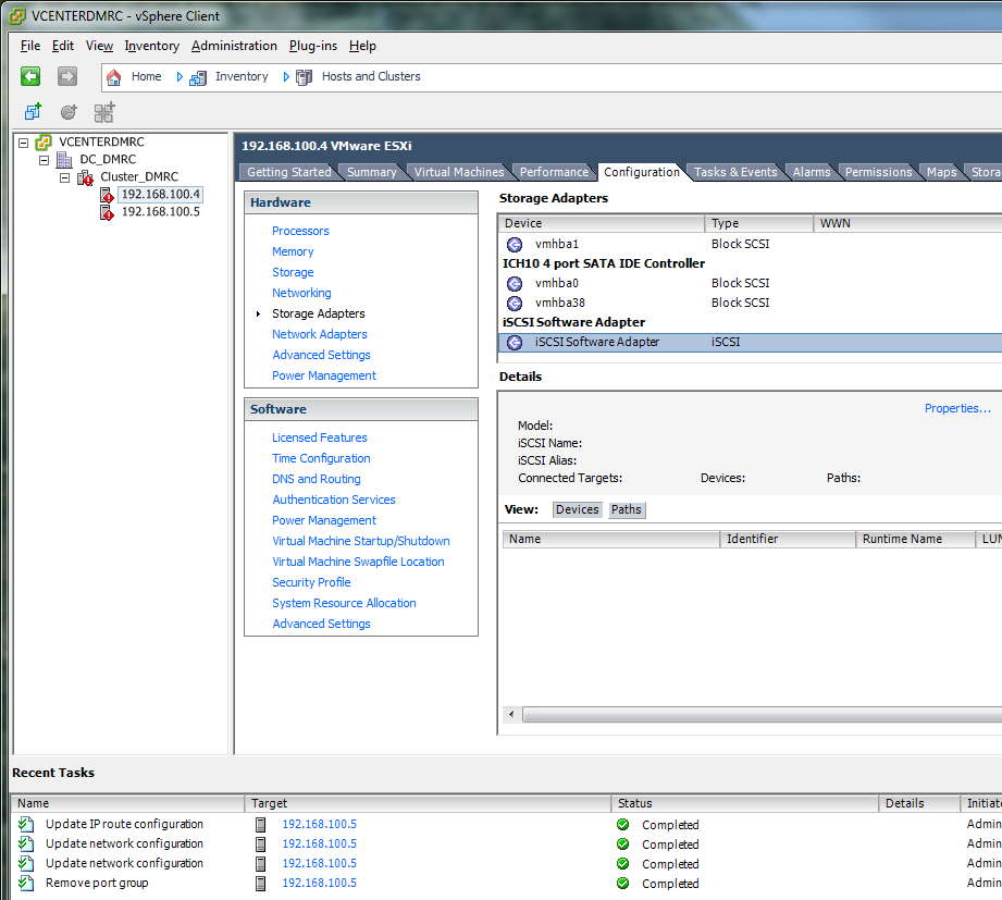 VMware for Bosch VMS Installing and configuring vsphere Client en 33 8. Perform the same for the second ESXi server. 5.7 Configuring Storage Adapter Home > Inventory > Hosts and Clusters 1.