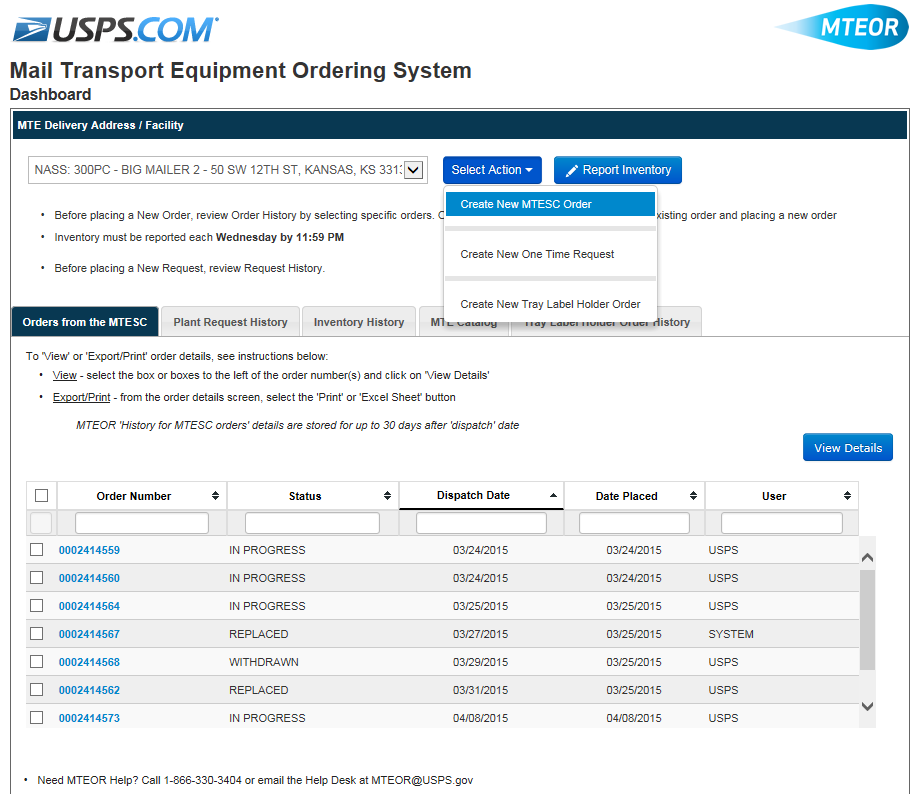 Create a New MTESC Order To create a new order for direct delivery of MTE from an MTESC, from the MTEOR Dashboard click the Select Action drop-down button and select Create New MTESC