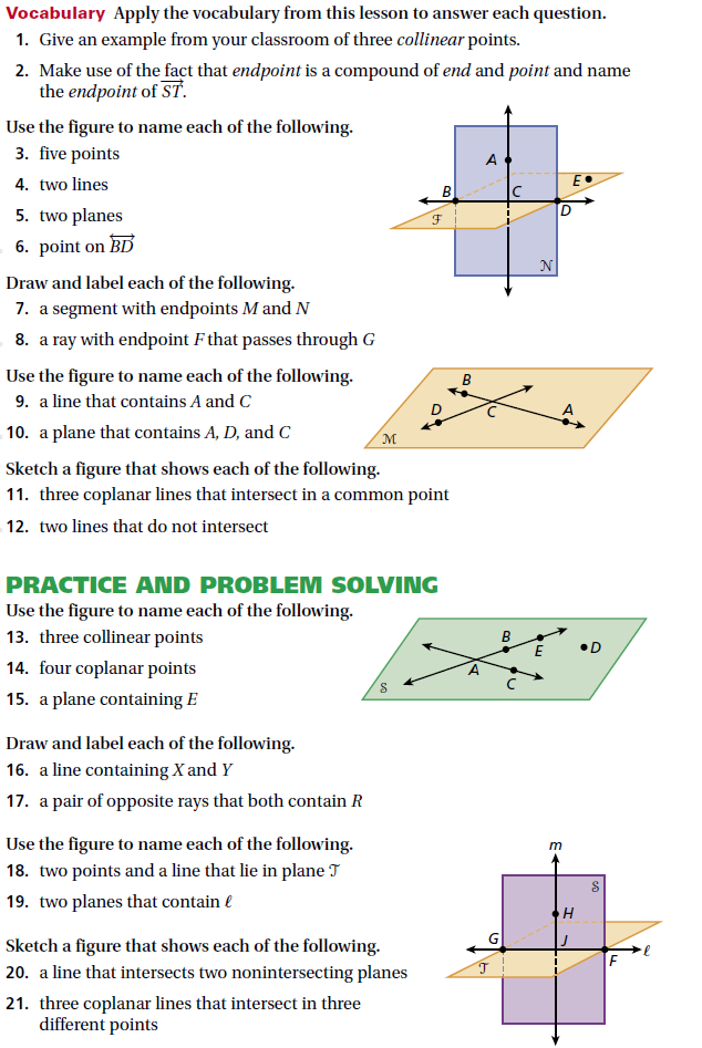 GEOMETRY  Chapter 1: Foundations for Geometry  Name: Teacher