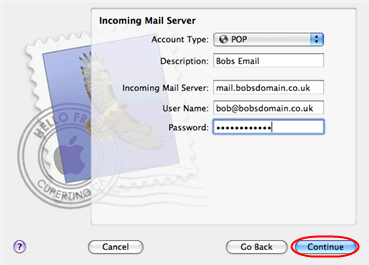 Click the Continue button when you are done. Step 6 Enter the following information on the Outgoing Mail Server screen: Outgoing Mail Server: Enter smtp.yourdomain.com (replacing yourdomain.