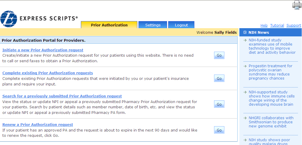 Getting ExpressPAth Overview After you have registered or logged into ExpressPAth, the Prior Authorization Portal for Providers page displays.