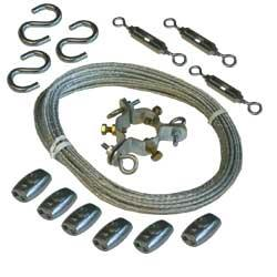 Figure 9 EZ-GWA Guy Wire Kit (Optional) The Guy-wire Kit contains three precut lengths of plastic coated, steel guy-wire cable, and all hardware required to secure the guy-wires to the top of the