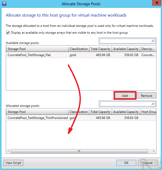 3. In the Allocate Storage Pools window, select the Display as available only storage arrays that are visible to any host in the group checkbox to verify that storage pools are available on the