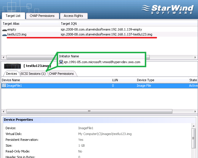 On the Devices tab of StarWind Management Console we can view that the device ImageFile1 is now connected to the target iqn.2008-08.com.starwindsoftware.192.168.1.137-testlu123.