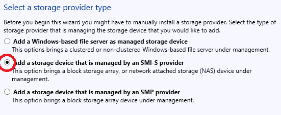 Connecting SMI-S provider to SC VMM 2012 R2 To enable disk array management using VMM you need to connect the appropriate SMI-S provider. To connect SMI-S provider: 1.