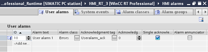 Triggering a user alarm A user alarm is triggered by means of a script and the respective ID belonging to the user alarm.
