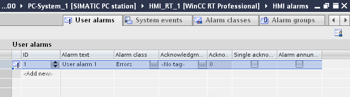 Optional settings for user alarms Creating a tooltip Table 4-18 With a tooltip you can provide the system operator with further information and instructions in addition to the alarm text. Screens 1.