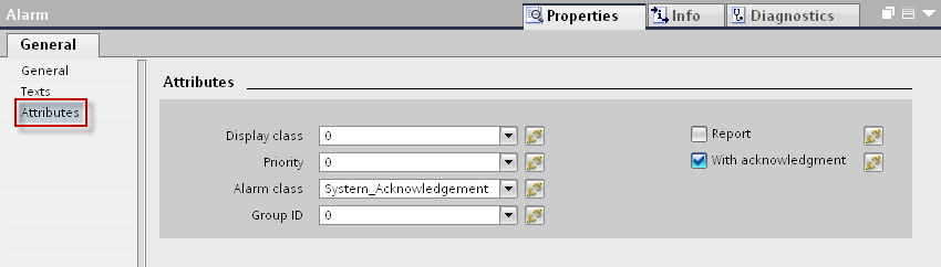 13. Select the ALARM message you created, under the tab PLC alarms and in the inspector window, open the tab Properties > General > Texts.