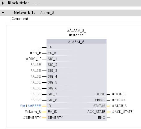 5. In the block interface of the function block, declare the static variables the parameters of the message block.