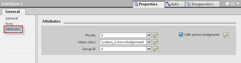 13. Select the ALARM_8 message you created, under the tab PLC alarms and in the inspector window, open the tab Properties > General > Texts.