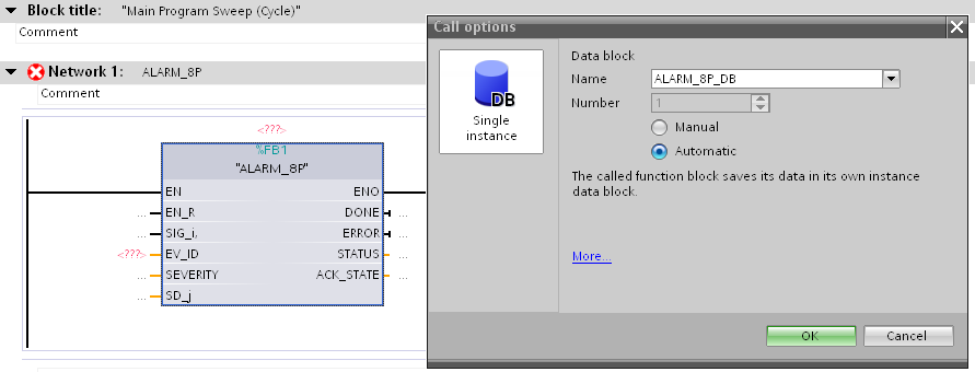 6. Connect the variable you set with the inputs and outputs of the message block. Then enter the value W#16#EEEE at the input ID of the message block.