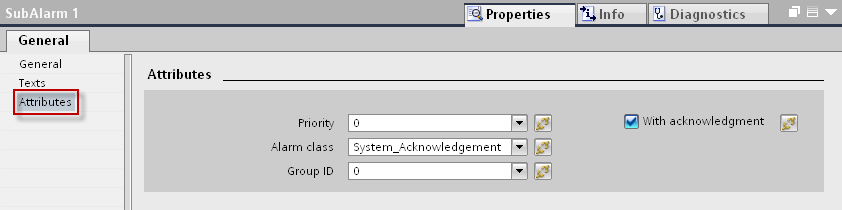 13. Select the NOTIFY_8P message you created, under the tab PLC alarms and in the inspector window, open the tab Properties > General > Texts.