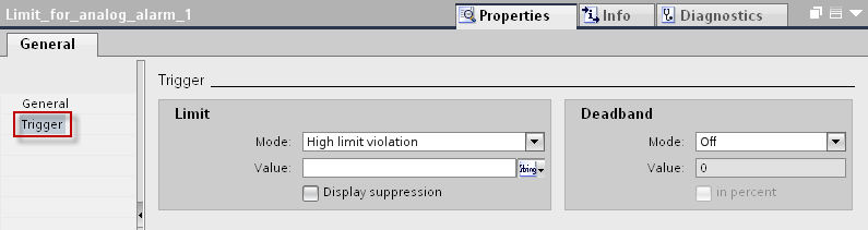 5. In the inspector window, please open the tab Properties > Properties > Alarm texts.