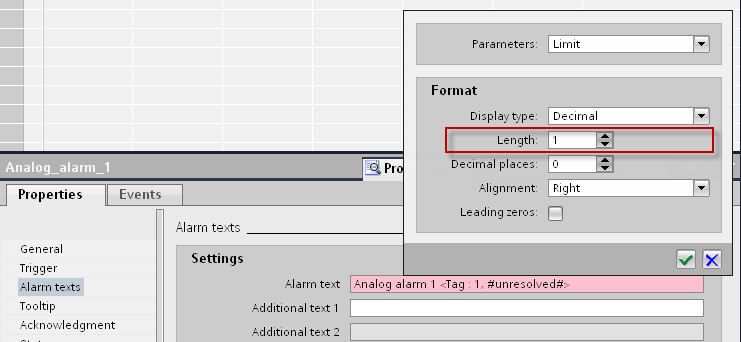 6. Under Format > Length, please select the number of characters for the display of the parameter.