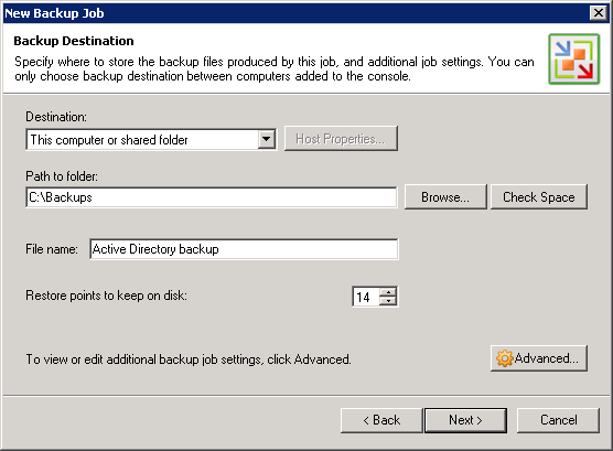 Click the Advanced button to specify advanced options for the created backup job: Step 6.