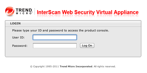 Figure 2. Trend Micro IWSA console Using the URL provided in the startup screen bring ups the following login page in a browser window. Figure 1.