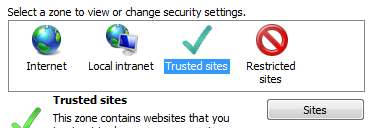 B. Internet Explorer Security Zone Settings 1.) Open Internet Explorer, click Tools Internet Options 2.) Select Security tab. 3.