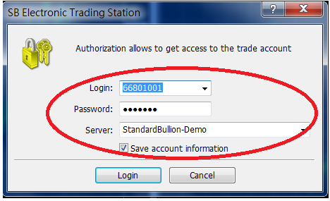 (Standard Bullion - Login Demo) Go to file and choose login. The Login screen will appear and please ensure the server is selected to StandardBullion-Demo.