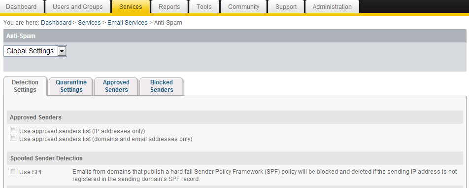 How to configure Spoofed Sender Detection Configured as part of the anti-spam settings in the
