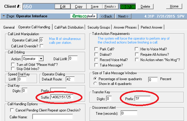 Program the unique calling party ID to display in the operator interface screen (operator call handling tab) of client setup: (expected format \Phone Number) Additionally program the transfer prefix
