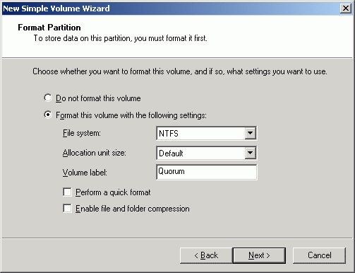 Specify format options. Provide the Volume Label.