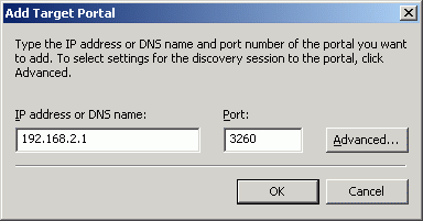 In the Add Target Portal dialog enter IP address or DNS name of the StarWind target