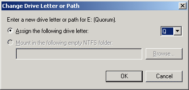 Change the Drive Latter for the Quorum to Q.