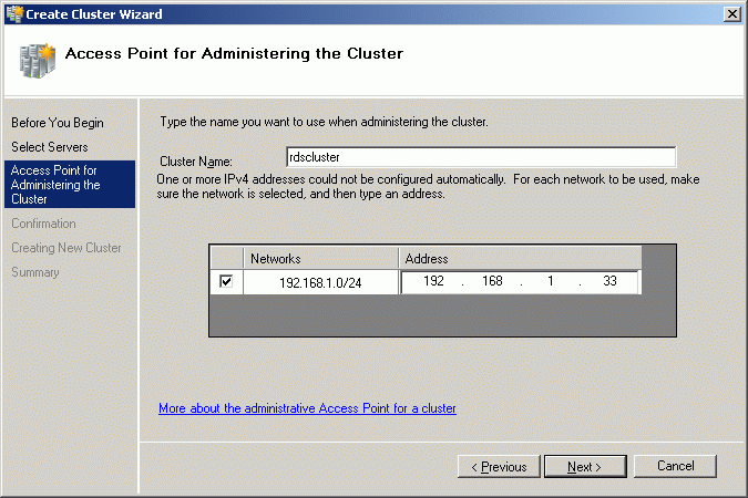 Specify Cluster Name and Cluster IP address.