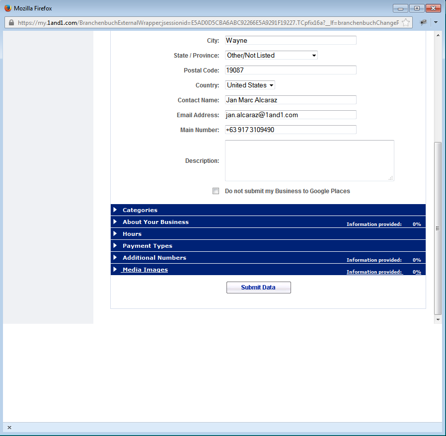 2. Click on Set up directory to start the process and fill in the fields as displayed below.