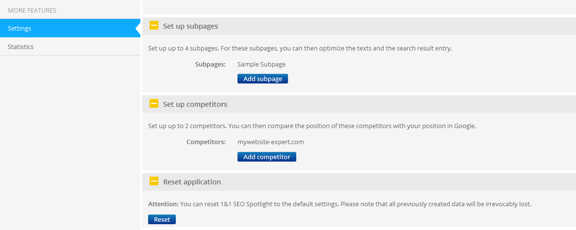 Settings Under Settings, you have all the option to change the keywords set for optimization, change the industry, setup