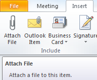 7. If you want to add an attachment, click on the Insert tab in the men bar, then click on Attach File. You can then browse your computer to find the file(s) you want to attach.