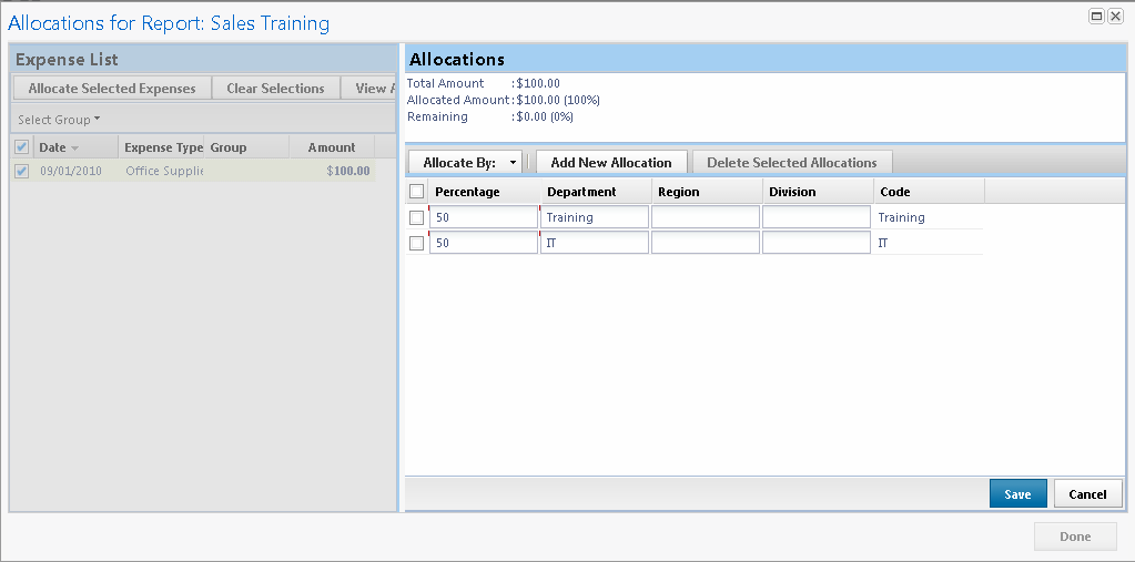 SECTION 7: USE SPECIAL FEATURES Allocate Expenses (CONTINUED) 7 Click Add New Allocation A new allocations field appears 8 Repeat steps 5-7 for each new allocation Add as many allocations as