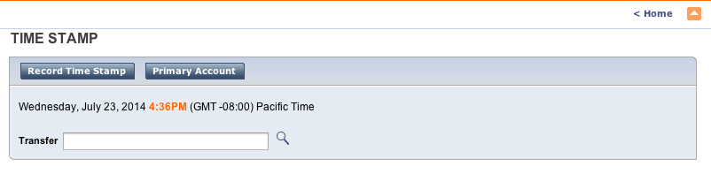Time Stamp Screen 1. Once logged in, CalTime presents the Time Stamp screen, which is used for entering an In or Out time. 2.