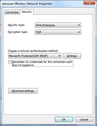 5. Click Security tab: ensure that Security type is set to WPA-Enterprise ensure that Encryption type is set to AES ensure the Choose a network authentication method is set to Protected EAP (PEAP)