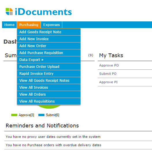 Purchase to Pay idocuments Purchasing is a powerful and flexible web browser based solution which enables you to gain control and visibility of the entire purchase to pay process helping you to